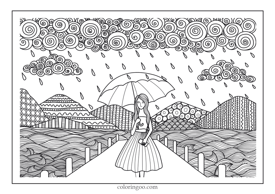 Girl In The Rain Coloring Pages for Adults