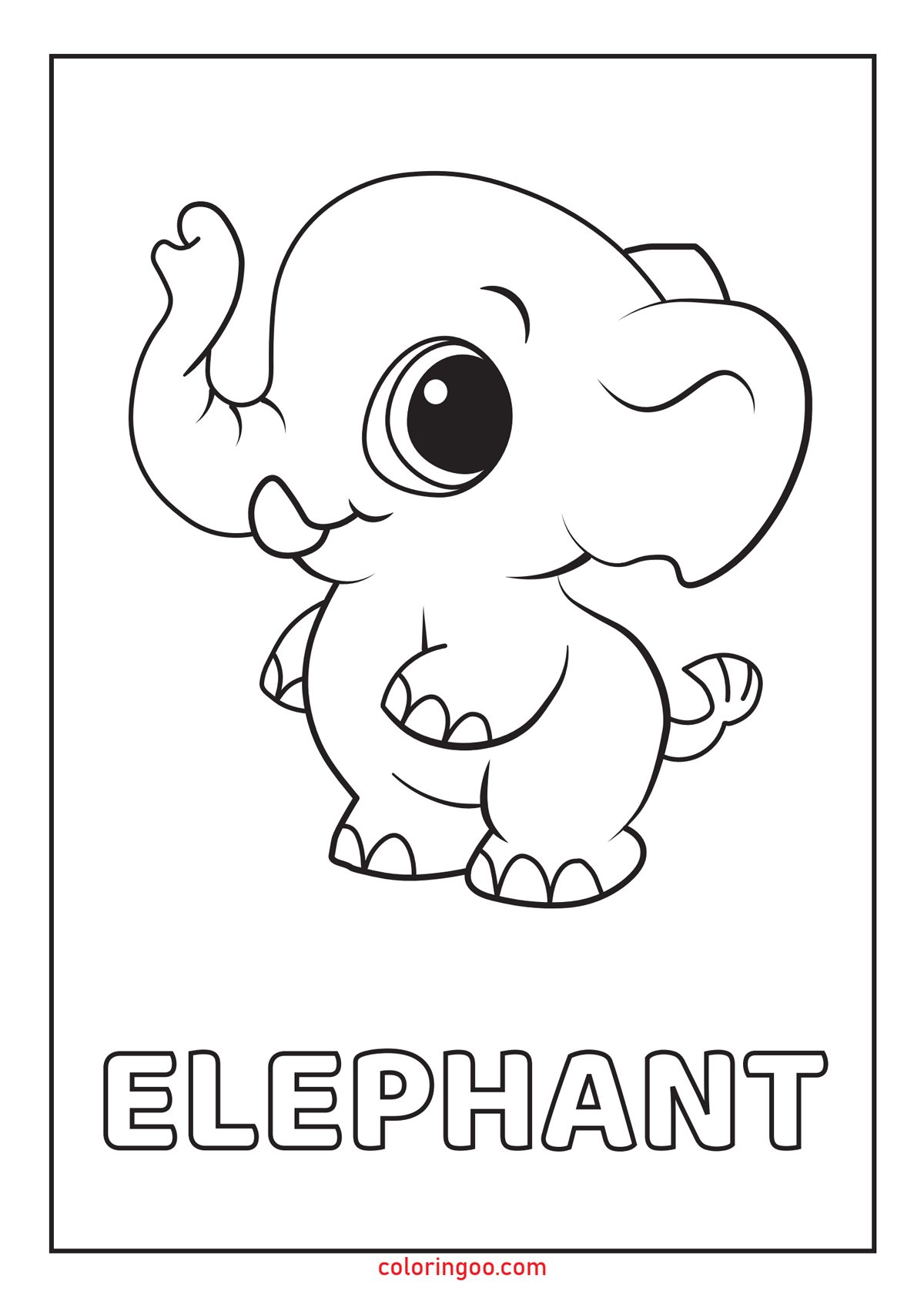 Elephant Printable Coloring Pages for Kids