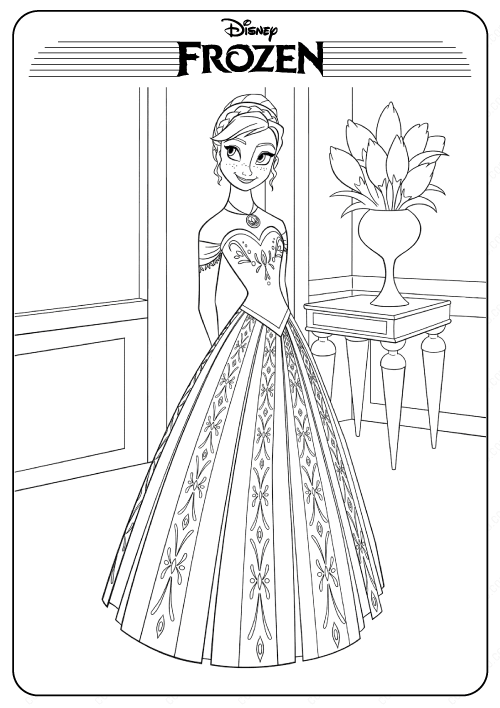 Disney Frozen Anna PDF Coloring Pages