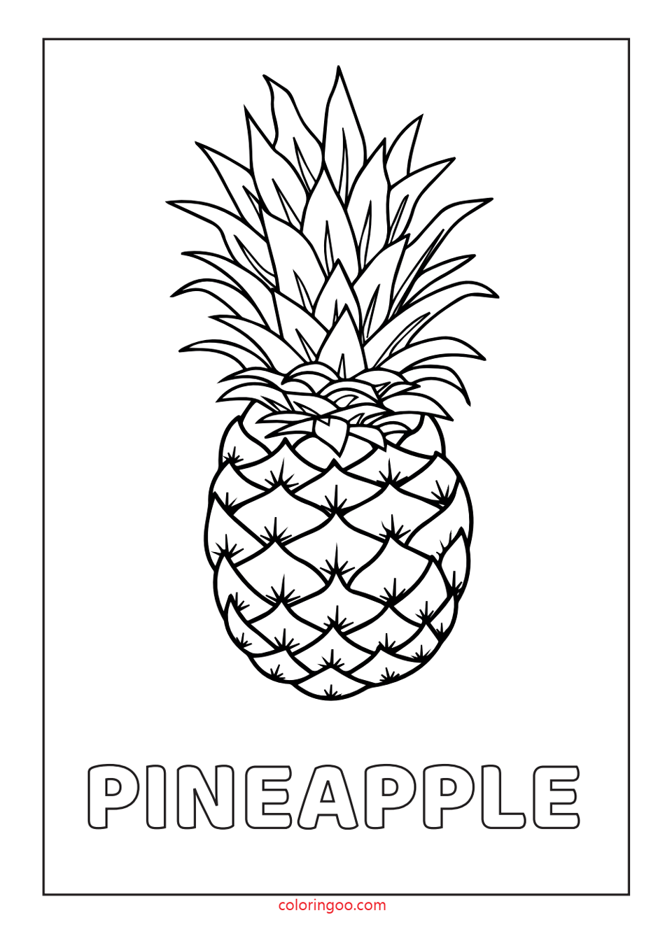 Pineapple Printable Coloring – Drawing Pages for Kids