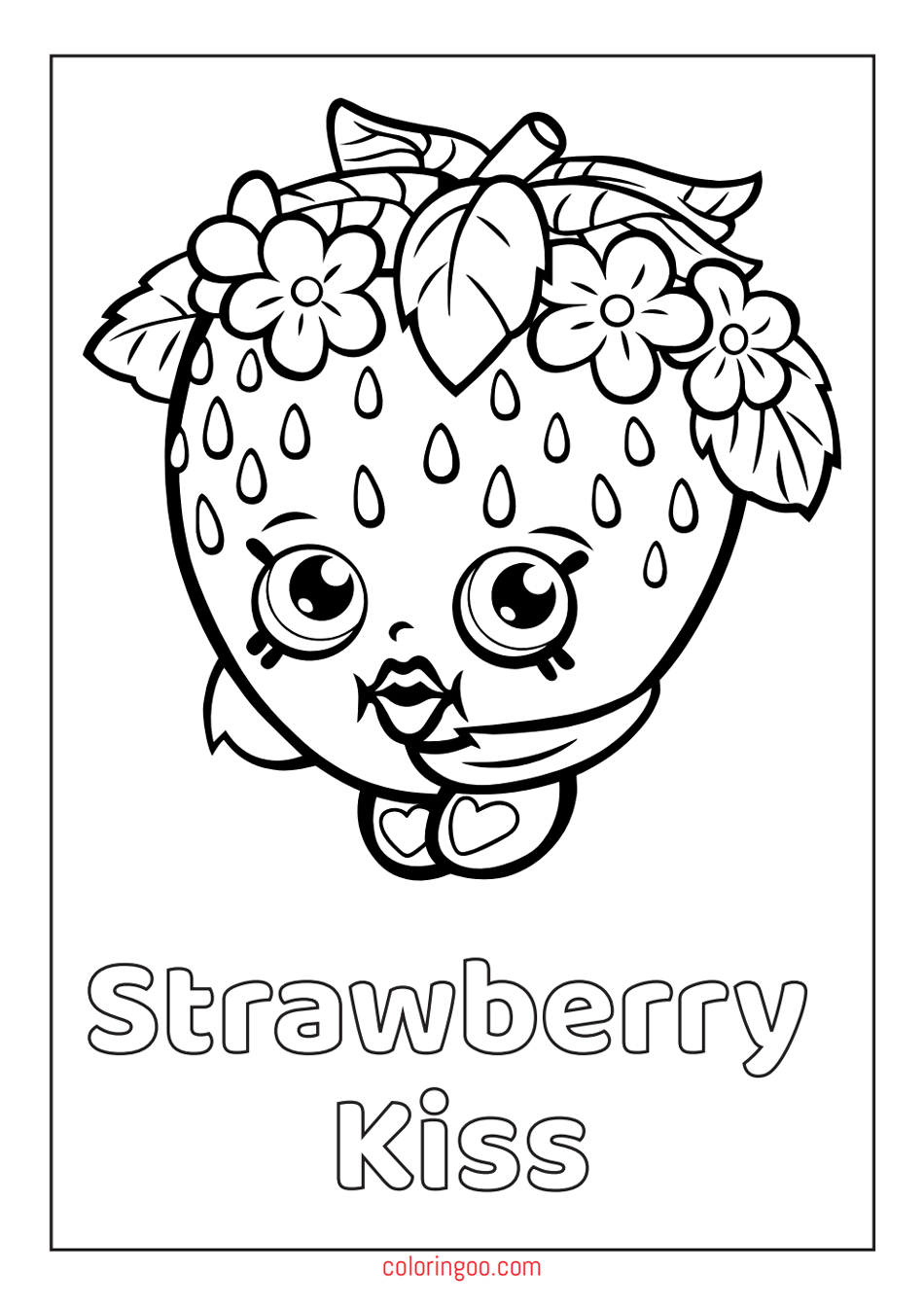 Printable Strawberry Kiss Shopkins PDF Coloring Pages