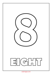 Printable Number 8 (Eight) Coloring Page (PDF) for Kids
