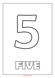 Printable Number 5 (Five) Coloring Page (PDF) for Kids
