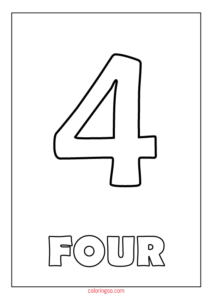 Printable Number 4 (Four) Coloring Page (PDF) for Kids