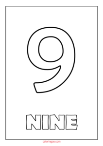 Printable Number 9 (Nine) Coloring Page (PDF) for Kids