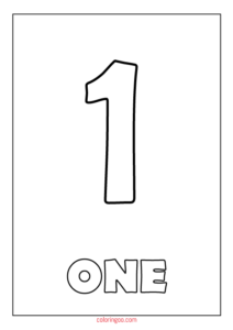 Printable Number 1 (One) Coloring Page (PDF) for Kids