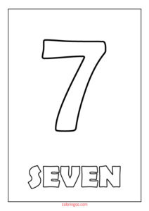 Printable Number 7 (Seven) Coloring Page (PDF) for Kids