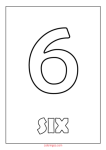 Printable Number 6 (Six) Coloring Page (PDF) for Kids