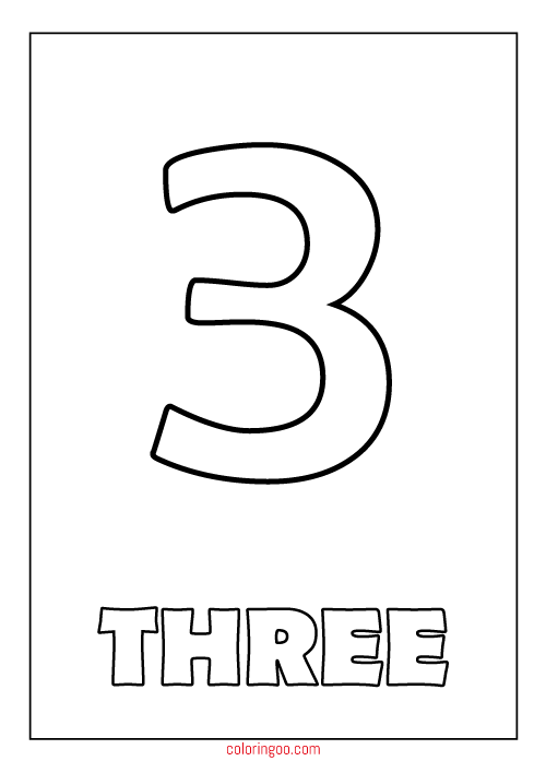 Printable Number 3 (Three) Coloring Page (PDF) For Kids