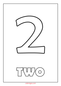Printable Number 2 (Two) Coloring Page (PDF) for Kids