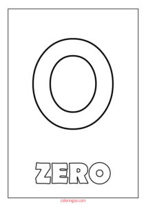 Printable Number Zero Coloring Page (PDF) for Kids