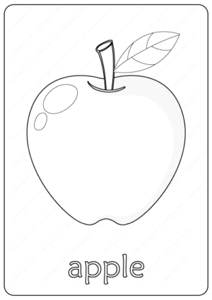 Printable Cute Apple Coloring Pages PDF