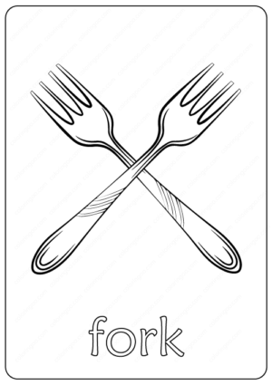 Printable Fork Coloring Page pdf