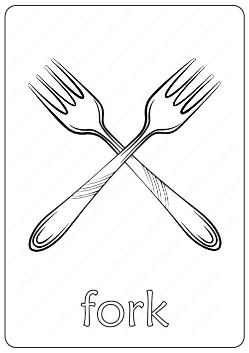 Printable Fork Coloring Page pdf