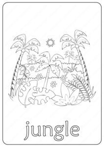 Printable Jungle Coloring Page - Book PDF