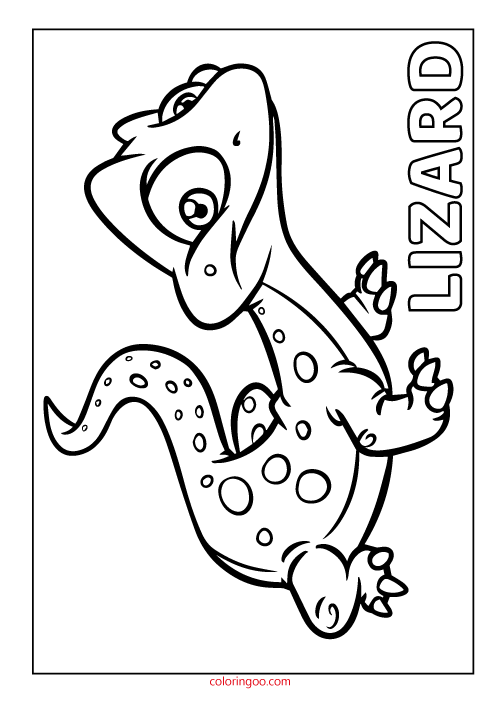 Printable Lizard Coloring Page (PDF) for Kids