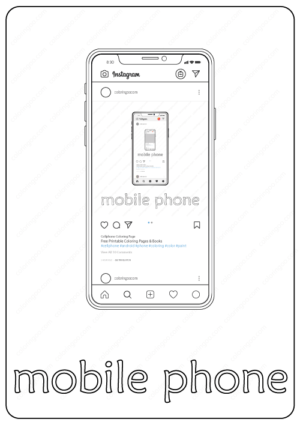 mobile phone coloring page pdf book