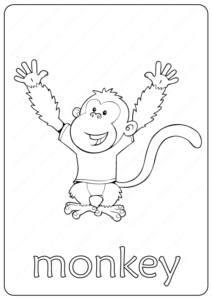 Printable Monkey Coloring Page - Book PDF