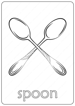 Printable Spoon Coloring Page pdf