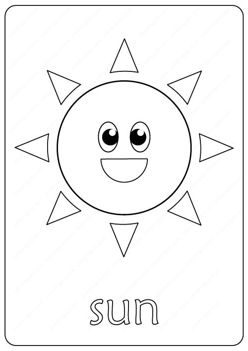 Printable Sun Coloring Page pdf