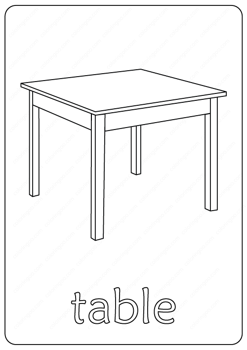 Printable Table Coloring Page pdf