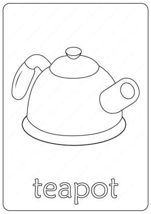 Printable Teapot Coloring Page pdf