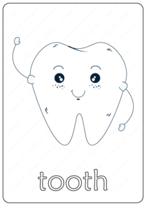Printable Tooth Coloring Page - Book PDF