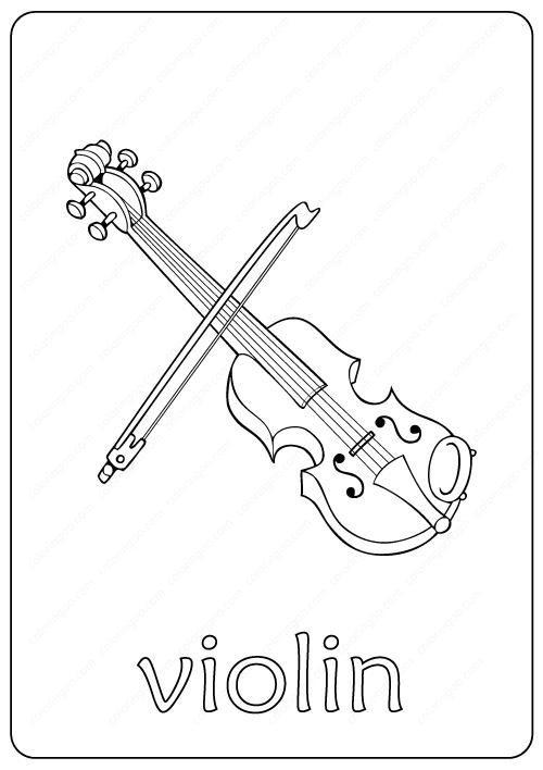 Printable Violin Coloring Page pdf