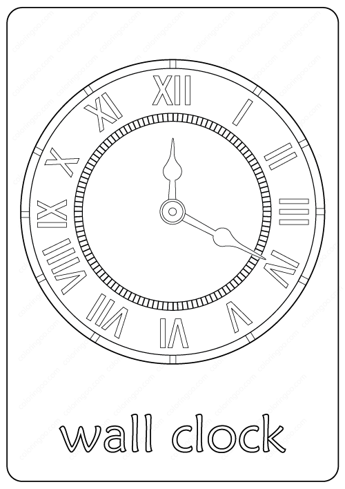 Printable Wall Clock Coloring Pages PDF