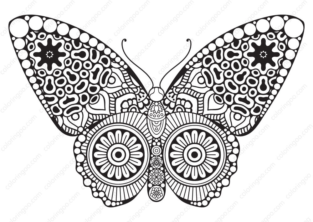 Decorative Butterfly Mandala Coloring Pages