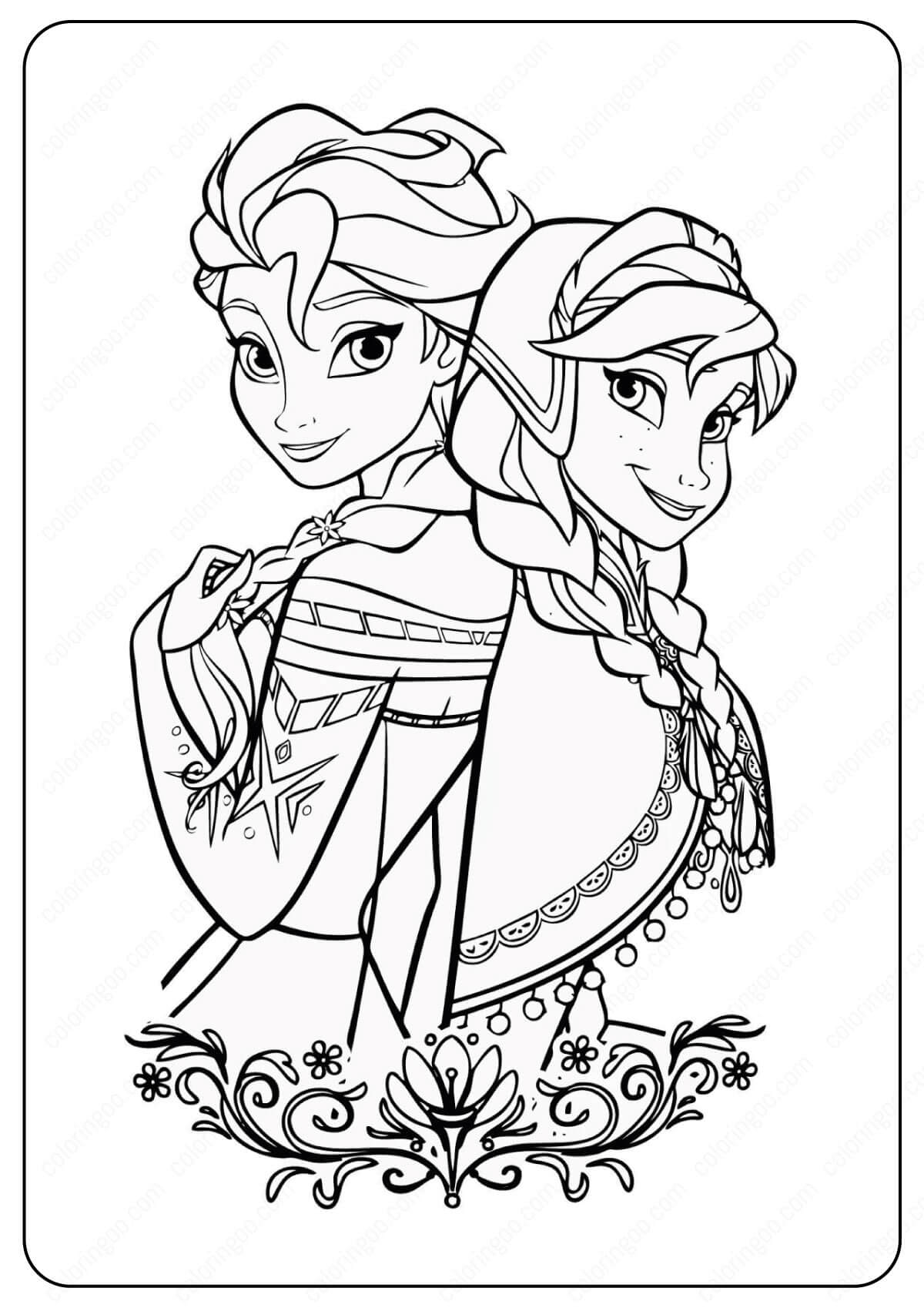 Free Printable Frozen Anna & Elsa Coloring Pages