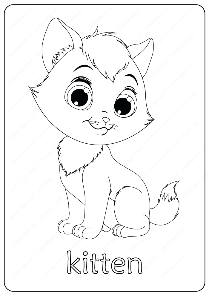 Printable Funny Fluffy Kitten Coloring Pages