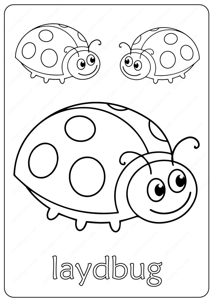 Free Printable Cute Laydbug Coloring Pages