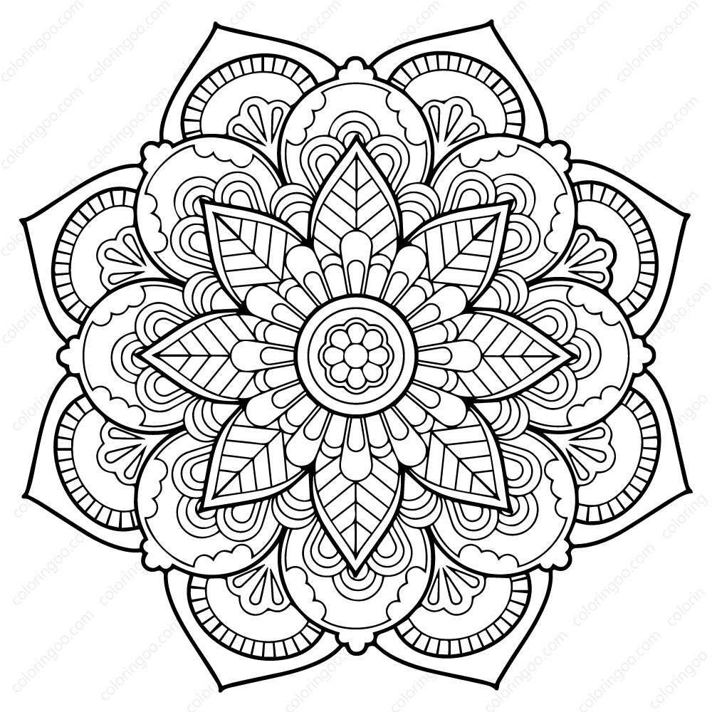 Flower Mandala-Coloring page-Adult coloring-art-therapy-pdf | Etsy | 1000x1000