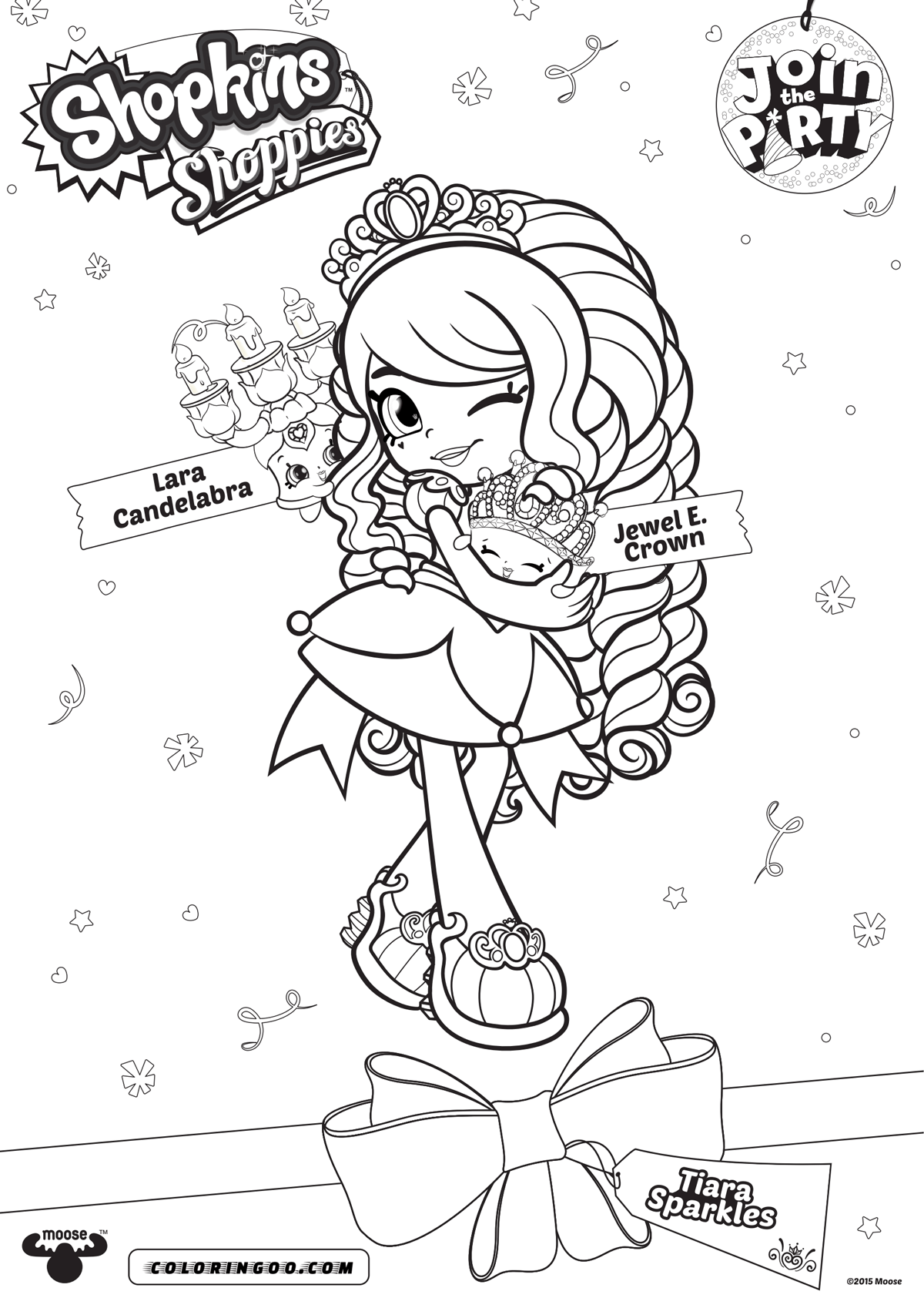 Shopkins Shoppies Tiara Sparkles Coloring Pages