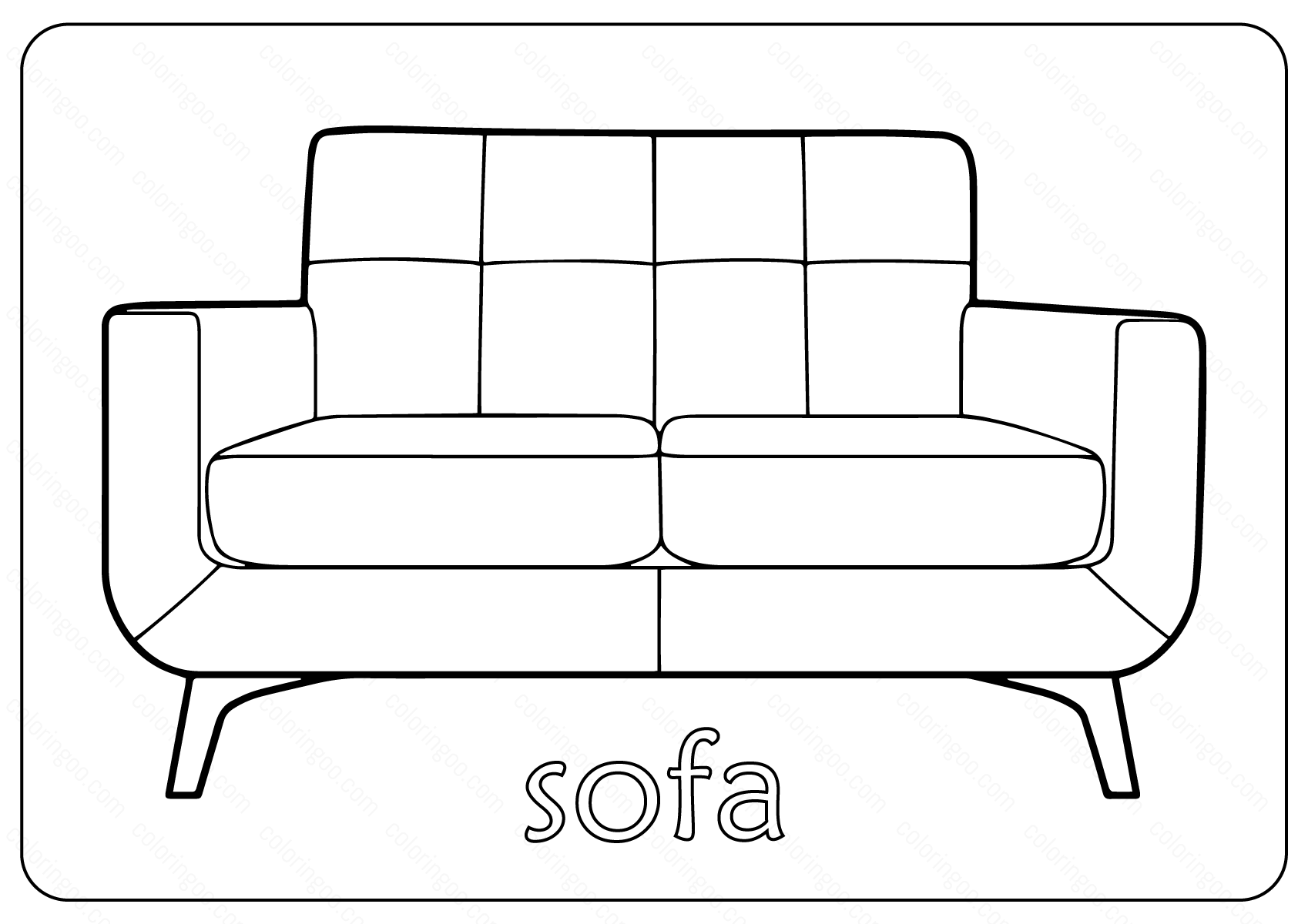 Free Printable Sofa Couch Coloring Pages