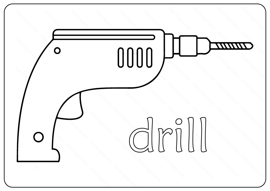 Free Printable Drill Outline Coloring Page
