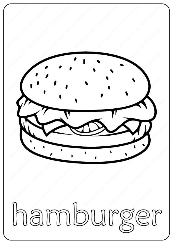 Free Printable Hamburger Outline Coloring Page