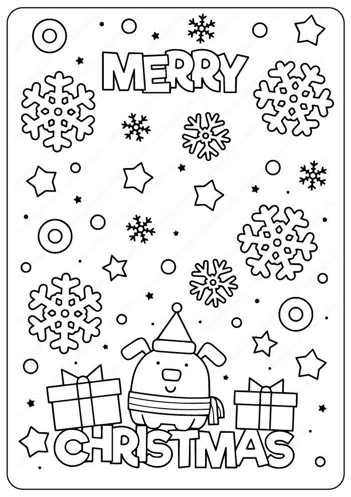 Printable Merry Christmas Coloring Page
