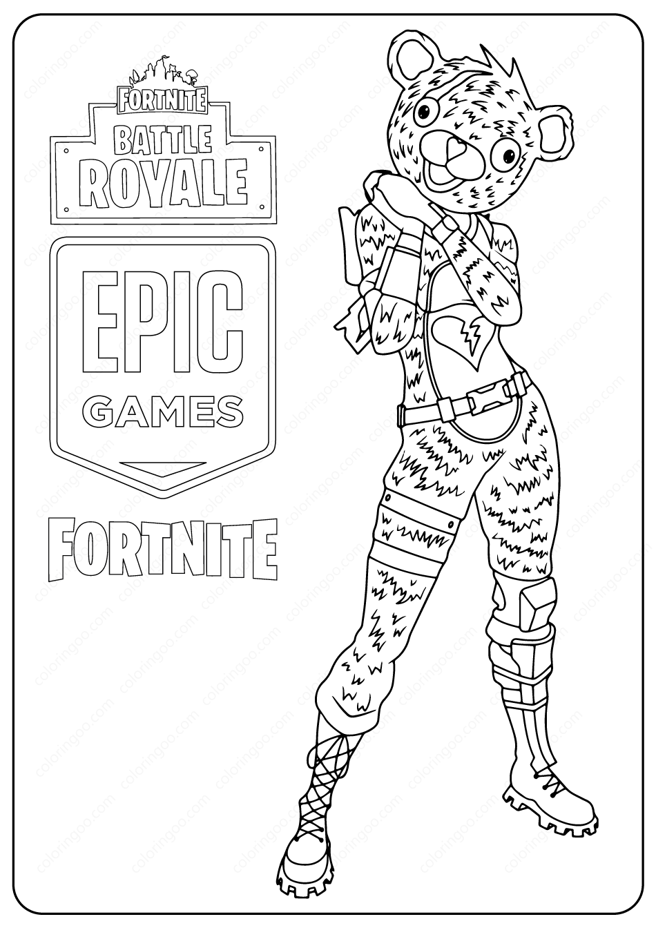 Free Printable Fortnite Bear Skin Coloring Page