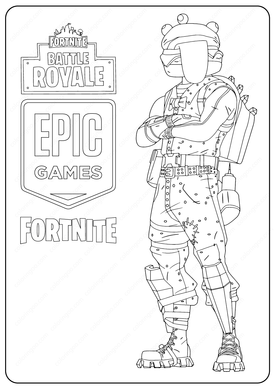 Free Printable Fortnite Beef Boss Skin Coloring Pages