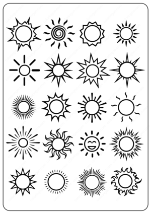Free Printable Sun Outline Coloring Pages