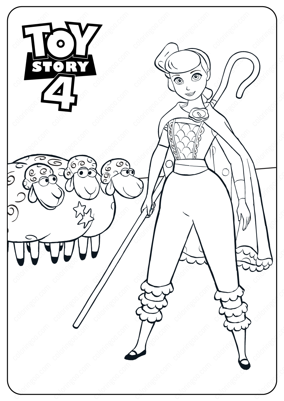 Free Printable Toy Story 4 Bo Peep PDF Coloring Pages