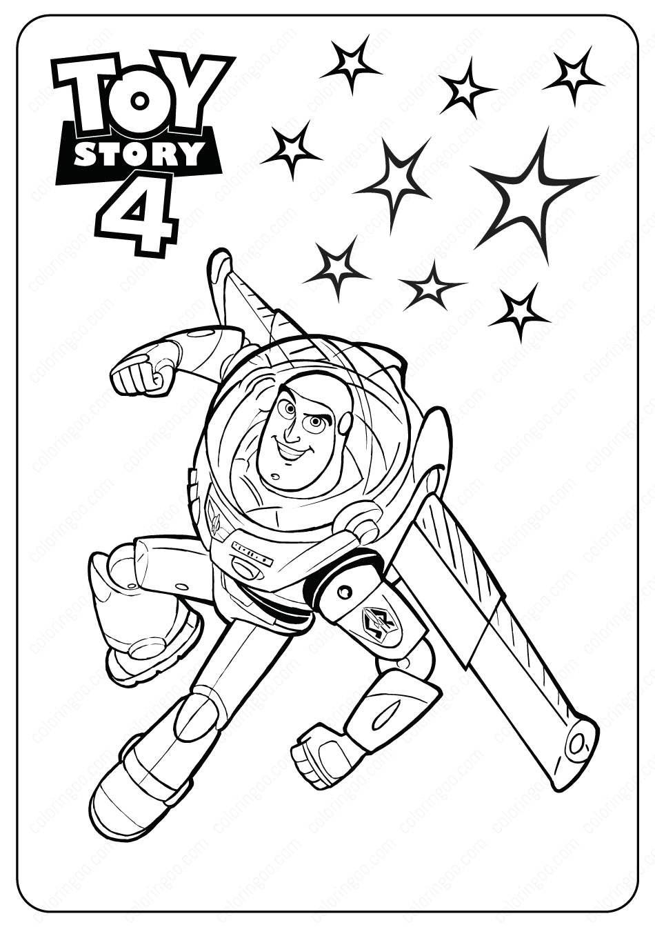 Free Printable Toy Story 4 Buzz Pdf Coloring Pages