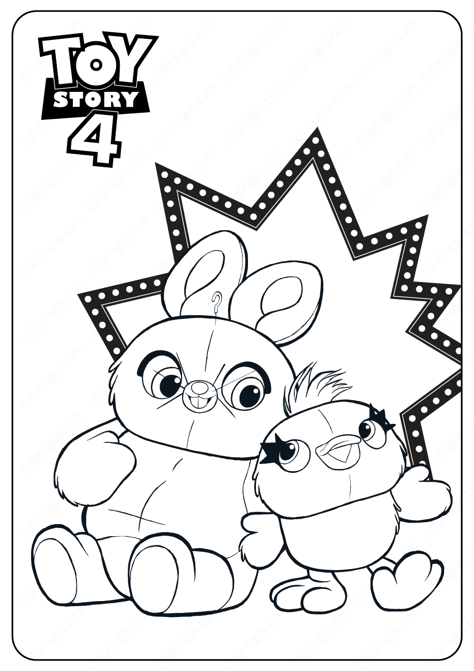 Free Printable Toy Story 4 Ducky And Bunny Pdf Coloring Pages