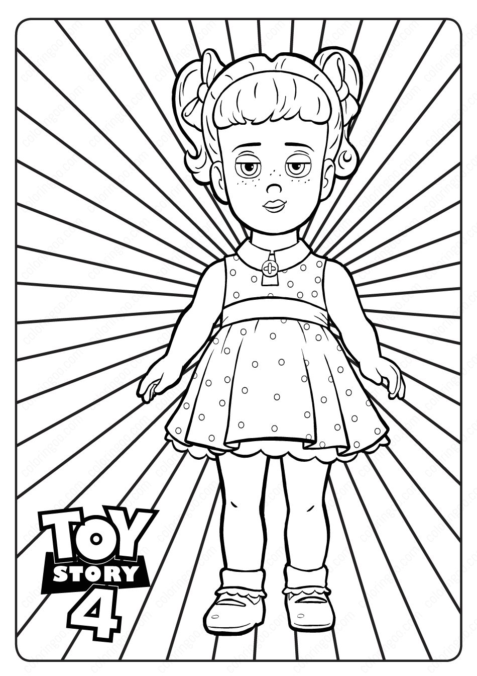 Free Printable Toy Story 4 Gabby Gabby PDF Coloring Page