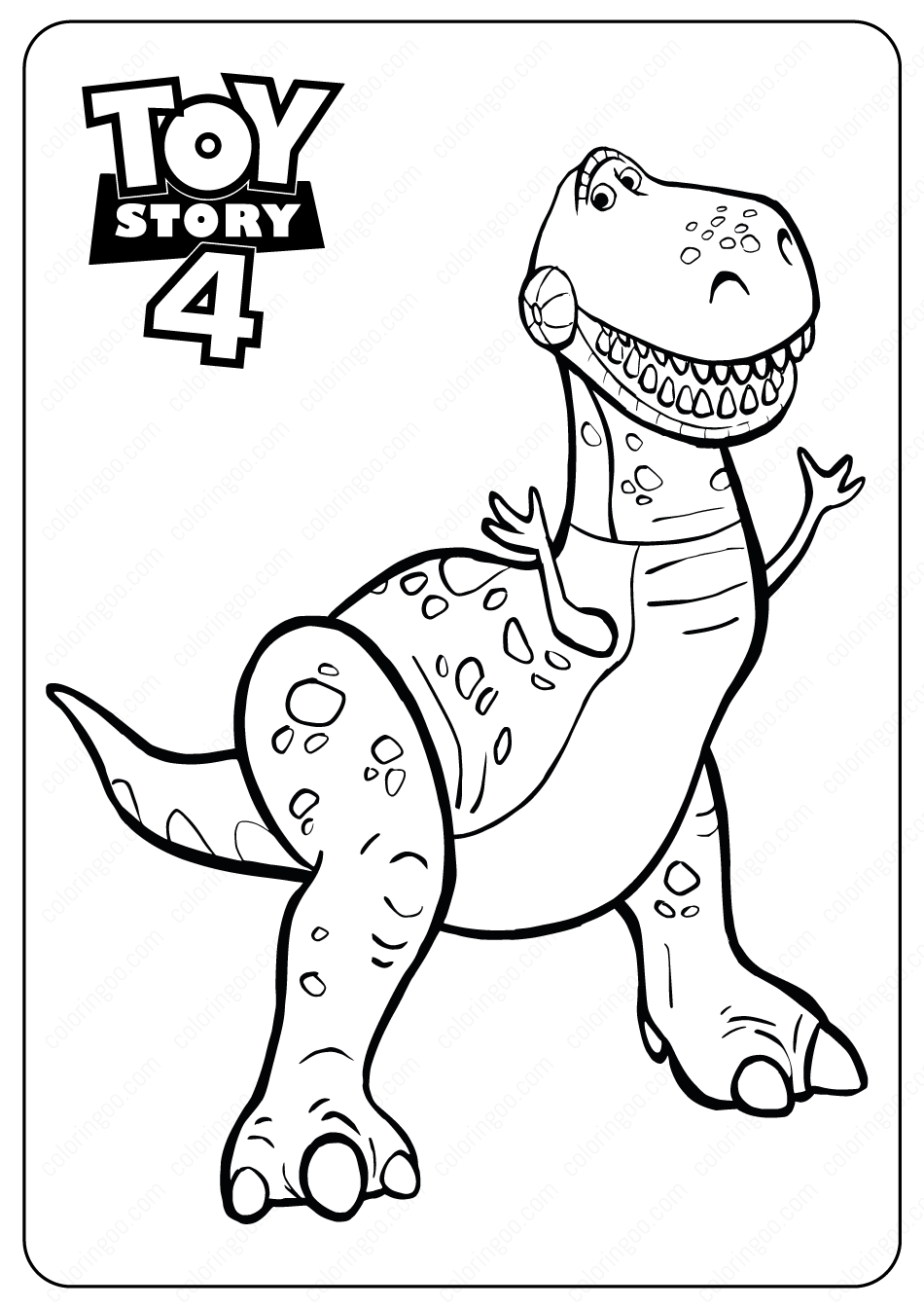 Free Printable Toy Story Rex PDF Coloring Pages
