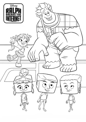 Ralph Vanellope and Net Users Coloring Pages 1