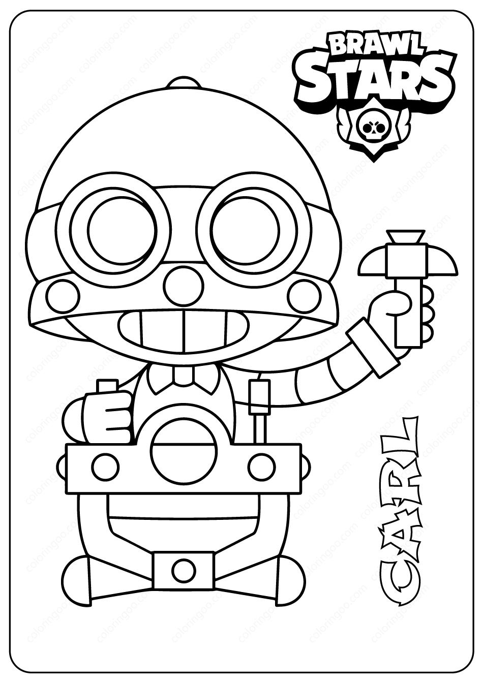 Printable Brawl Stars (Carl) PDF Coloring Pages