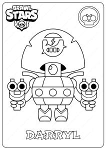 Printable Brawl Stars (Darryl) PDF Coloring Pages
